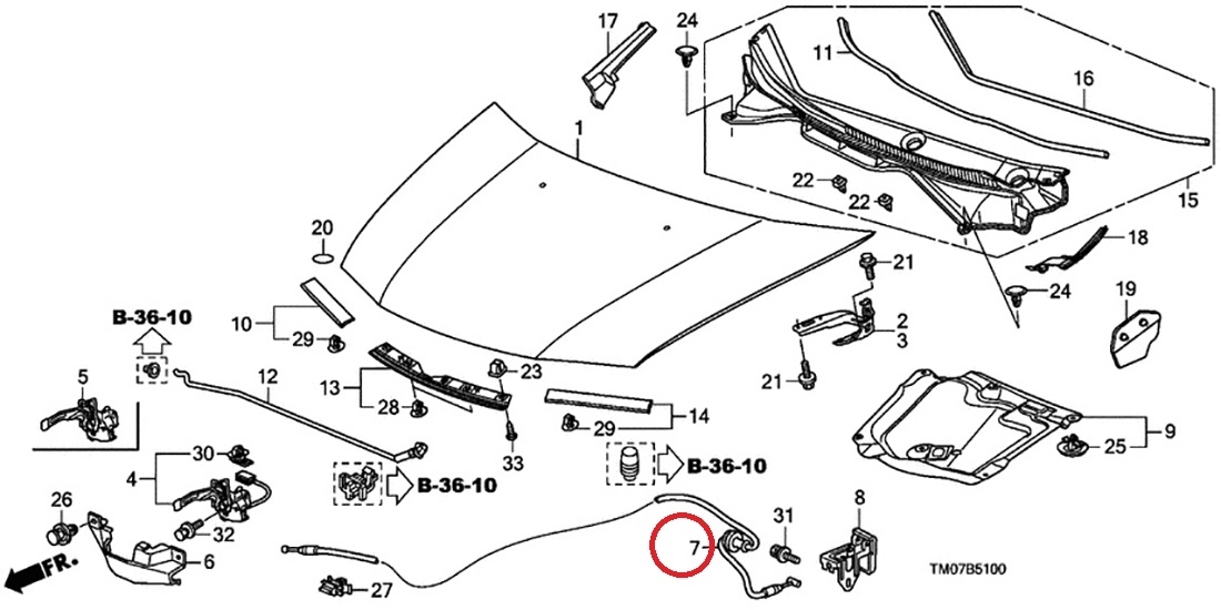 Hood Assy Cable Genuine MN3